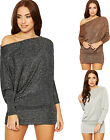 Womens Off Shoulder Lurex Batwing Top Ladies Party Glitter Bardot Sleeve Baggy