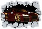 Huge 3D Audi R8 Crashing through wall View Wall Sticker Mural Decal Film 8