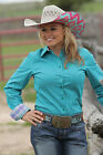 Women's Cinch Teal Patterned Long Sleeve Button Down Shirt - MSW9164046