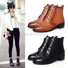 Womens Retro Genuine Leather Lace Up Brogue Riding Ankle Boots Shoes 6685-2