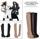 Womens Fashion Pull On Cut Out Top Wedge Heel Platform Over The Knee Boots #618