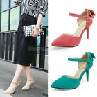 Ladies 2016 Sweet Bow Tie High Heel Mary Jane Pumps Court Shoes Plus Size T-8063
