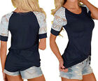 Women Ladies Summer Blouse Casual Lace Shirt Short Sleeve Summer T-shirt Tops US