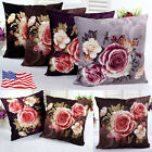 Vintage Peony Pillow Case Throw Waist Cushion Cover Car Sofa Home Decor US Stock