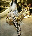 Women Ladies Strappy Gladiator Cut Out Sandal Knee High Boot Flat Summer Shoes A