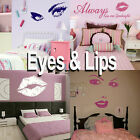 Eyes & Lips Wall Sticker! Girls Home Transfer Graphic /  Decal Decor Stencil Art