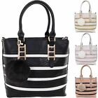 Ladies Puff Pom Pom Stripe Buckle Faux PU Leather Tote Satchel Hand Bag