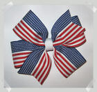 Red, White & Blue American Flag Grosgrain Hair Bow Patriotic 4th of July