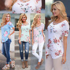 NEW Women's Short Sleeve V Neck Floral T-Shirt Ladies Summer Beach Tops Blouse