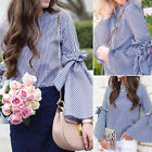 Fashion Women Striped Blouse Shirt Summer Casual Flare Sleeve Tops New S-XL