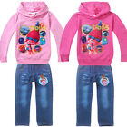 NEW Kids girls Stroll outfit longsleeved hooded Jumper+Jean Costume 3Yrs-7Yrs