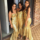 2017 Fashion High Low Shiny Gold Bridesmaid Dress Sweethear Sequins Sparkling
