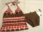 Ana Size 8 or 10 Dot Halter Swim Top Brown Swimsuit Panty NWT Swimwear Set