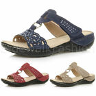 WOMENS LADIES MID WEDGE HEEL COMFORT T-BAR DIAMANTE SLIP ON SUMMER SANDALS SIZE