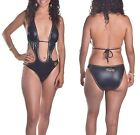 Coogi Women's $120 Black and Gold Quilted Monokini Swimsuit
