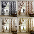 "Davina Floral 3"" Headed Tape Pencil Pleat Curtains Pair Ready Made Fully Lined"