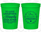Personalized Wedding Party Cups Custom (442) Love Laughter Happily Ever After