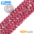 "Dark Red Crazy Lace Agate Gemstone Faceted Round Beads For Jewelry Making 15"" GB"