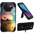 For Samsung Models Dual Layer Rubber KickStand Skin Cover Case + Film + Pen