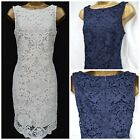 NEW WALLIS LACE DRESS SHIFT TUNIC FLORAL IVORY NAVY PARTY SUMMER SIZE 8 - 18