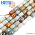Natural Multi-Color Amazonite Gemstone Drum Barrrel Beads For Jewelry Maing 15""