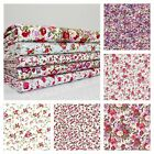 Sunday Best Pretty Floral Polycotton Fabric - Pink Mauve Purple Flower PER METRE