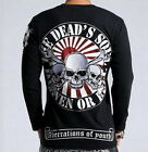 High Quality New Mens Japanese Pattern T-Shirt Long Sleeve Embroidery Punk Skull