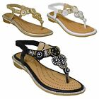 Womens Comfort Padded Diamante Tribal Toe Post Flat Low Heel Sling Back Sandals