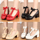 Women Vintage Sweet T-Straps Bows Mary Janes Date Party Prom Wedding Shoes