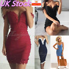 UK Womens Bodycon Bandage Evening Party Dress Ladies Formal Wedding Lace Dress