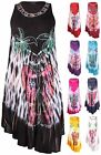 Womens Plus Size Embroidered Print Sleeveless Flare Beach Lace Ladies Long Dress