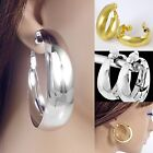#C100 NON-PIERCED CLIP-ON 2.5cm, 3cm or 5cm POLISHED ROUND Huggie HOOP EARRINGS