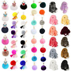 Cute Soft Rabbit Fur Ball Fluffy Pom Pom Key Chain Ring Handbag Car Accessories