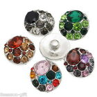 Wholesale Lots Snap Buttons Fit Snap Bracelet Colorful Rhinestone DIY Mixed 20mm