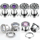 1 Pair Bling Cubic Zirconia Crystal Screw Ear Plugs Tunnels Stainless Steel USA