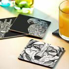 Zentangle animal art deco  cup mug coasters square and round set of 4 or 3