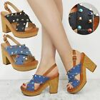 Womens Ladies Wedge Heel Rock Stud Sandals Summer Platform Denim Open Toe Size
