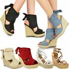 New Womens Ladies Wedge Espadrille Sandals Strappy Rose Gold Summer Shoes Size
