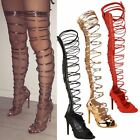 Womens Ladies Thigh High Lace Up Stiletto Heels Sandals Sexy Party Boots Size UK