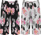 Plus Womens Pleated Elasticated Floral Print Culottes Ladies New Stretch Shorts