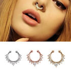 Cool Fake Septum Clicker Crystal Nose Ring Non Piercing Hanger Clip On Jewelry