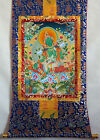 "32"" BLESSED BROCADE WOOD SCROLL CLASSIC TIBETAN THANGKA: BEAUTIFUL GREEN TARA"