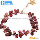 Handmade Natural Dark Red Garnet Gemstone Beaded Bracelet Necklace Jewelry Set
