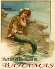 POSTER LITTLE MERMAID MEET AT THE BEACH IN BAHAMAS TRAVEL VINTAGE REPRO FREE S/H