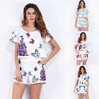 NEW Summer Womens Short Sleeve Casual Printed Crop Top T-shirt+Shorts Set Outfit