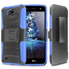 For LG X Charge/Fiesta 2 LTE/Power 2 3/ Rugged Case Holster+Black Tempered Glass