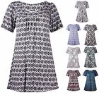 Womens Plus Size Short Sleeve Gathered Long Floral Aztec Print Smock Ladies Top
