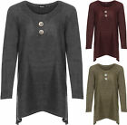 Womens Plus Knitted Top Ladies Long Sleeve Button Baggy Jumper Ladies Side Slit
