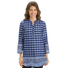 Women's Blue And White Batik Print Tunic Top, by Collections Etc