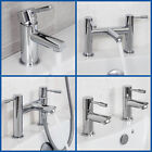 Modern Chrome Bathroom Sink Twin Taps Bath Filler Shower Mixer Basin Mini Mixer